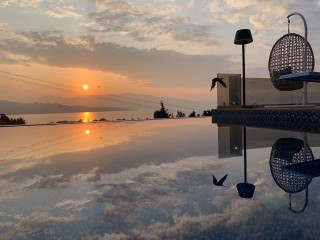 swimming pool villa kastro sunset